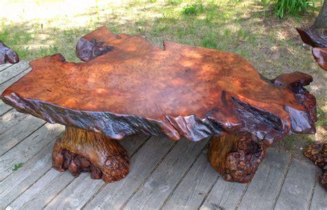 redwood table rustic furniture log furniture