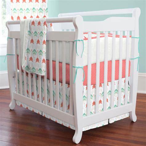 teal crib bedding coral and teal arrow mini crib bedding carousel designs