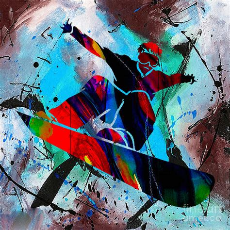 Home Decor Canvas Art snowboarding painting mixed media by marvin blaine