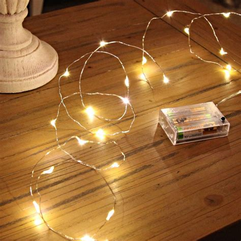 fairly lights 20 warm white led silver wire micro battery lights
