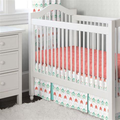 coral color crib bedding coral and teal arrow crib bedding carousel designs