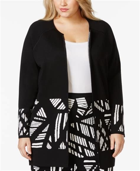 plus size knit jacket calvin klein plus size printed knit jacket in black lyst