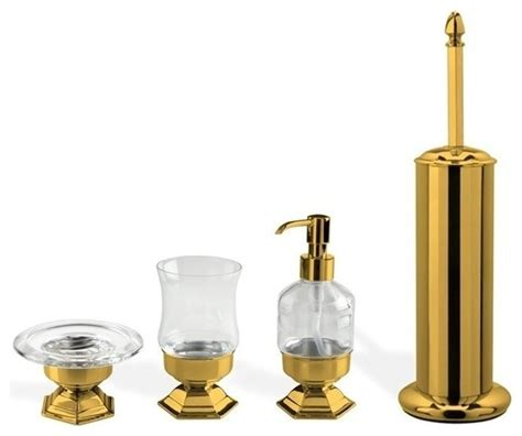gold bathroom accessories sets 4 gold free standing accessory set contemporary