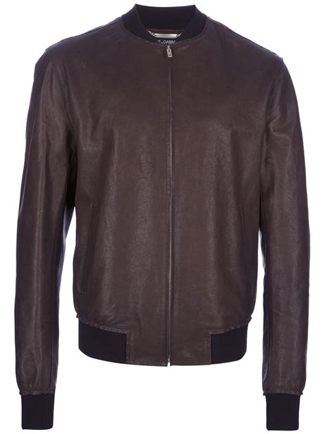 mens light brown leather jacket dolce gabbana light zipup leather jacket in brown for lyst