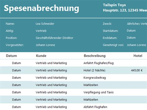 spesenabrechnung templates office com