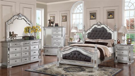 mirrored headboard bedroom set gloria mirrored complete bedroom set