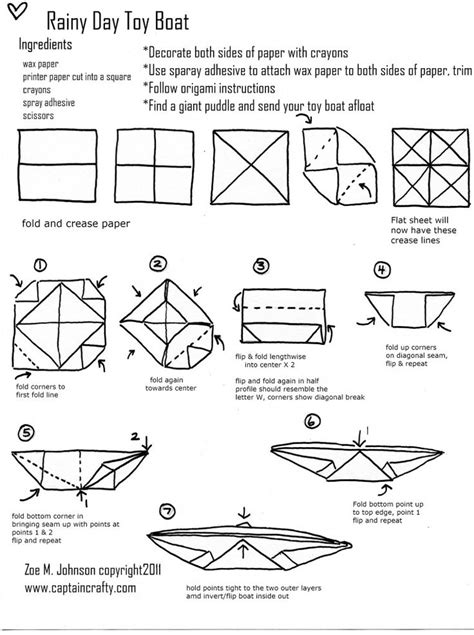 origami boat printable rainy day boat tutorial sewing