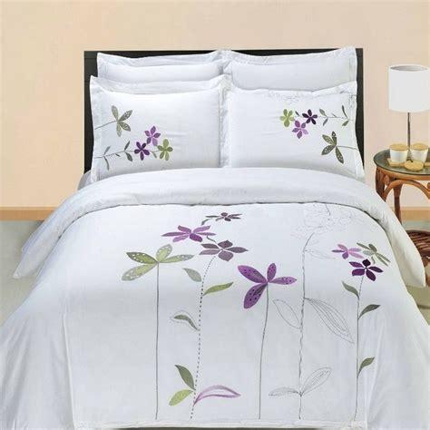 white cotton comforter set 5pc hotel style purple white embroidered duvet cover set
