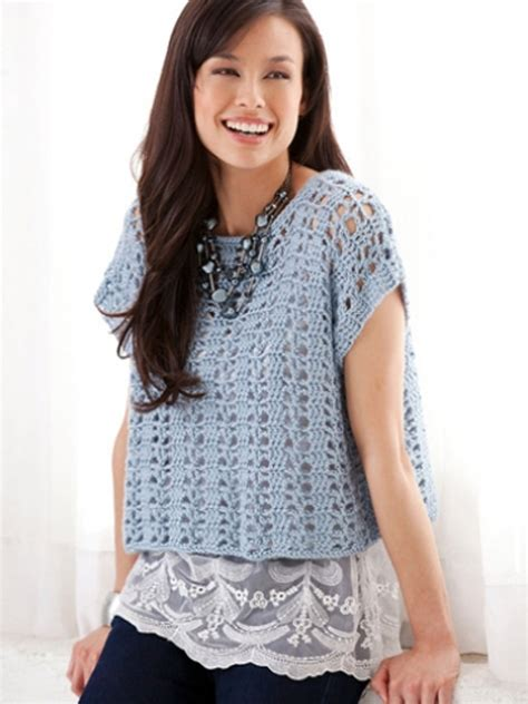 free knitting patterns for summer tops casual summer top in caron simply soft downloadable pdf