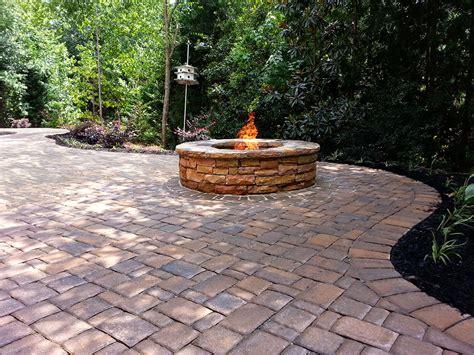 pit on patio pavers concrete pavers bricks hardscape landscape