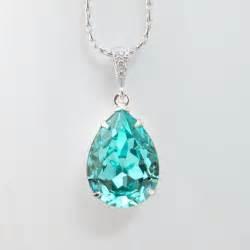 blue fashion jewelry teal blue bridal necklace sea green teardrop pendant