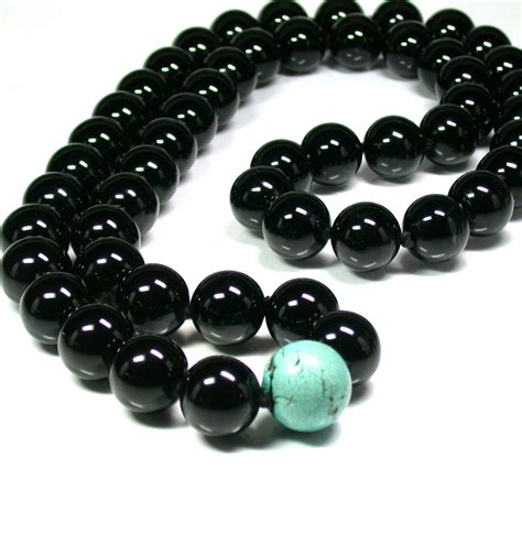 onyx bead necklace black onyx and turquoise bead necklace