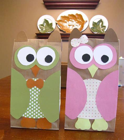 paper bag owl craft image paper owl treat bag template