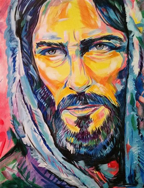 acrylic painting of jesus jesus painting canvas church by