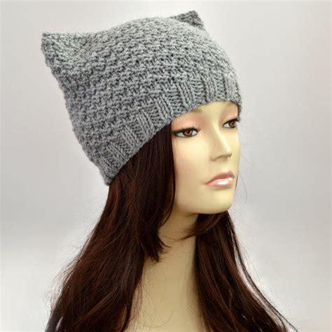 cat ear hat knitting pattern grey cat hat knit cat ear hat or cat from slouchybeanie