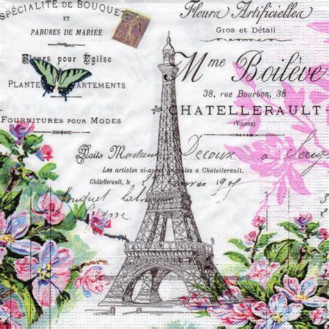 vintage decoupage paper uk 4 x single paper napkins vintage style la tour eiffel