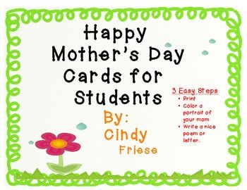 make your own mothers day card s day cards create your own by friese tpt