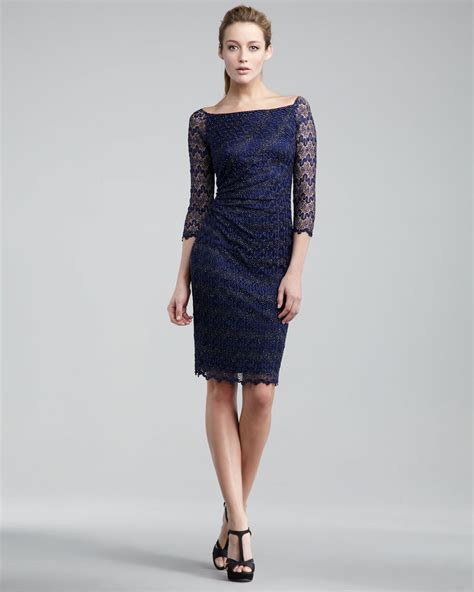 navy beaded dress david meister illusion beaded dress in blue navy lyst