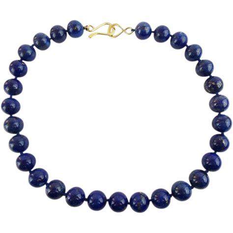 lapis lazuli bead necklace estate 16 12mm lapis lazuli bead necklace quot beautiful