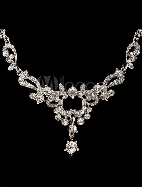 metal sts for jewelry silver metal rhinestone jewelry set for wedding