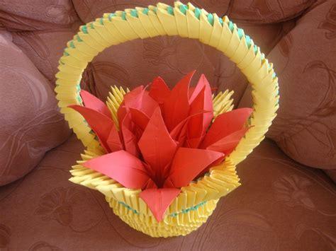 3d origami basket 3d origami flower basket www pixshark images