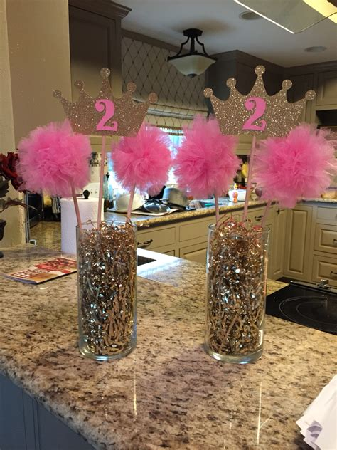 centerpieces ideas for birthday pink gold princess birthday centerpiece