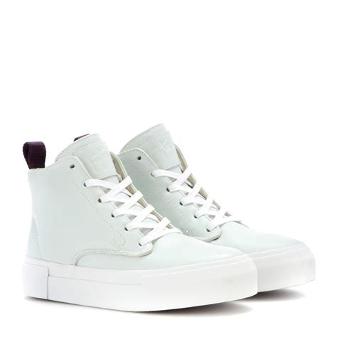 leather high top shoes for eytys odyssey leather high top sneakers in white lyst
