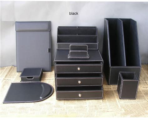 black leather desk organizer leather desk organizer set d1006 black leather 2 desktop