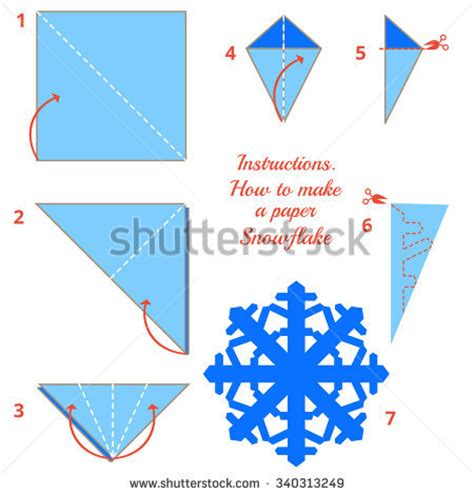 how to make a snowflake origami visual diy made craft stock vector