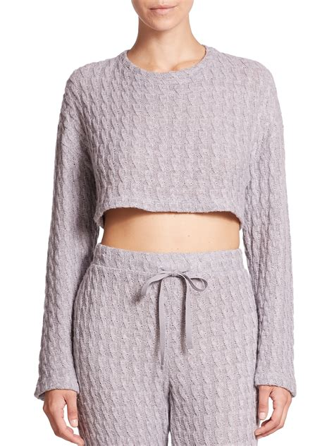 Csbla Cropped Cable Knit Sweater In Gray Lyst