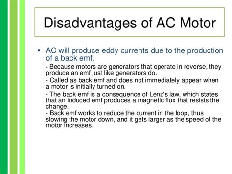 Uses Of Ac Motor by Advantages And Disadvatages Of Ac Dc Motor