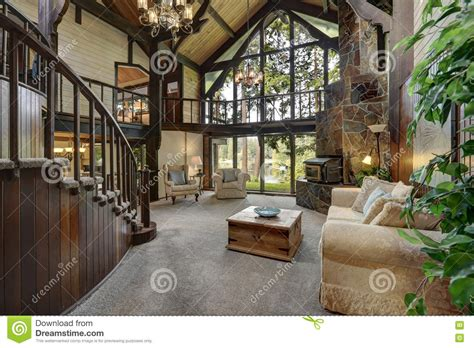 cottage up modern wooden cottage house interior with living room