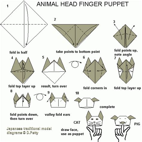 origami finger puppet 73 animal puppet