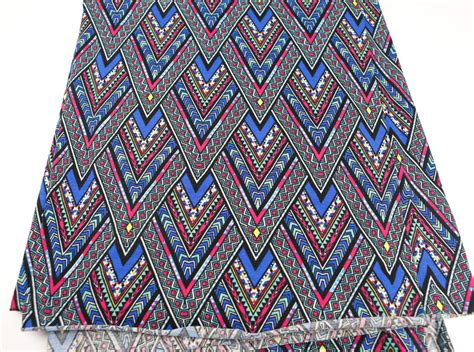 tribal knit fabric tribal chevron printed knit jersey fabric magenta blue violet