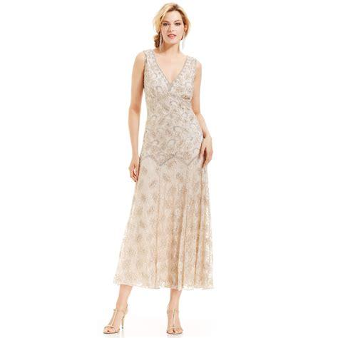 pisarro nights beaded dress pisarro nights sleeveless beaded lace gown in lyst