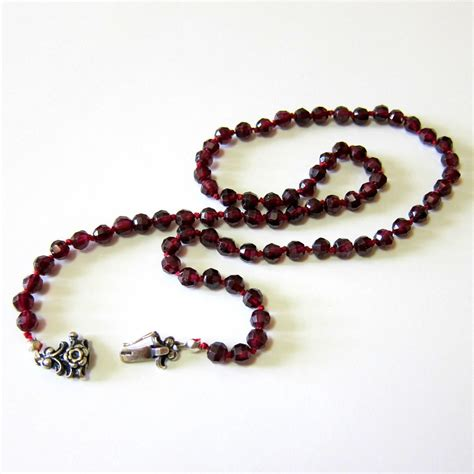 garnet bead necklace rhodolite garnet bead necklace with from rubylane things