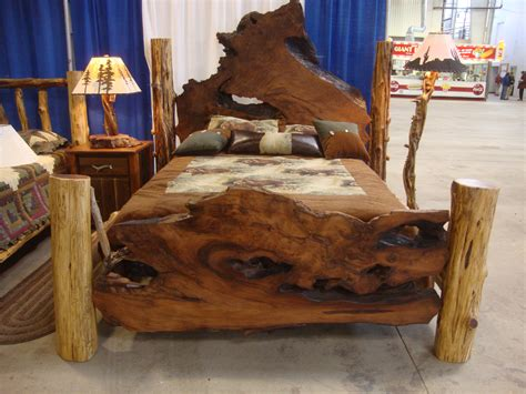 woodworking with logs rustic beds live edge burl wood slab bed