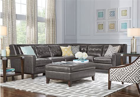 Living Rooms With Grey Sofas by Reina Point Gray Leather 5 Pc Sectional Living Room