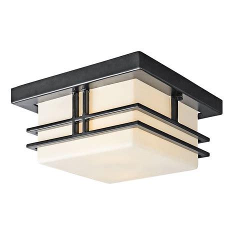 ceiling outdoor lighting kichler 49206bk tremillo 2 light outdoor flush mount