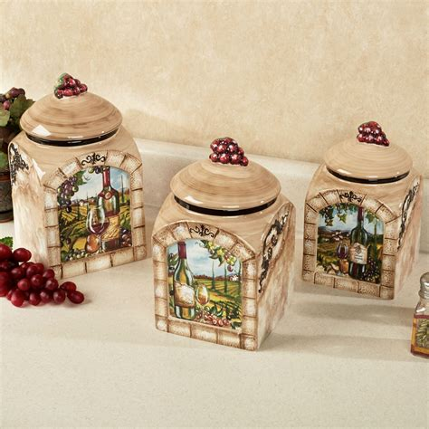 tuscan style kitchen canisters tuscan view wine grapes kitchen canister set