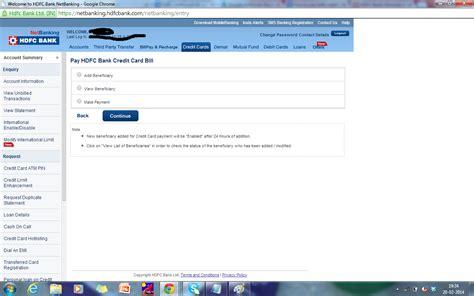 make credit card payment hdfc hdfc bank credit card bill payment
