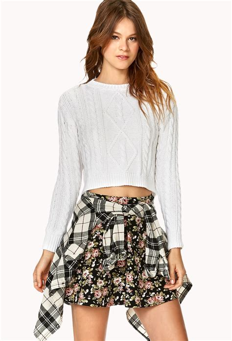 cropped cable knit sweater forever 21 cropped cable knit sweater in white lyst