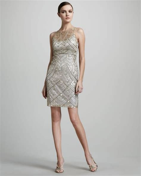beaded silver dress sue wong beaded cocktail dress in silver chagne silver