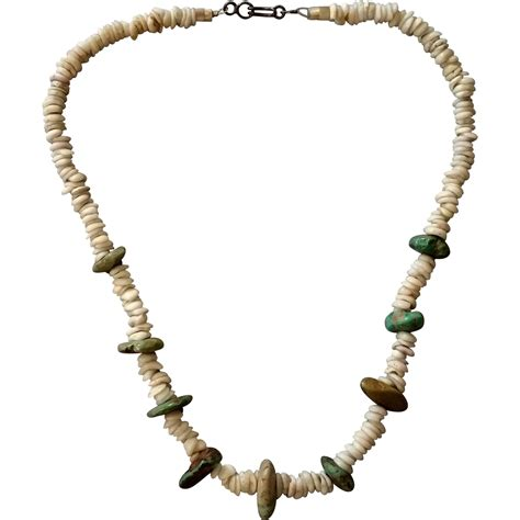 shell jewelry turquoise nuggets puka shell necklace from
