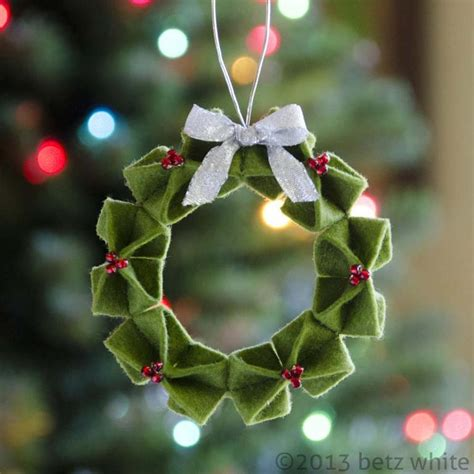 origami ornaments patterns felt origami wreath ornament by betz white craftsy