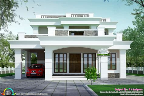 house plans with flats 2813 sq ft flat roof box type home homes design plans