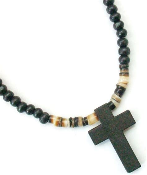 mens beaded necklaces s black wooden cross beaded surfer necklace 19 quot new ebay