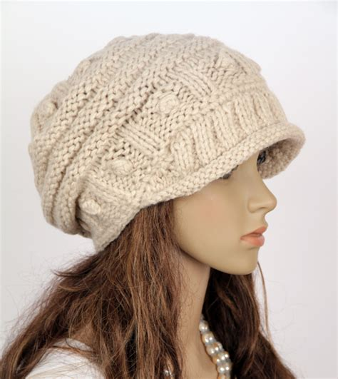 knitted cap slouchy handmade knitted hat cap beige on luulla