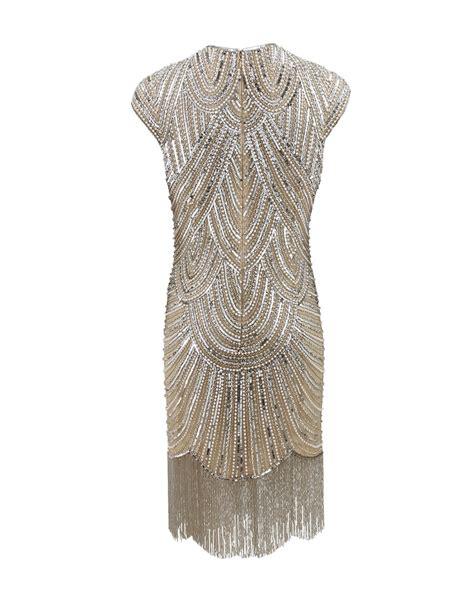 fringe beaded dress naeem khan deco beaded fringe dress in metallic lyst