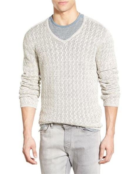 cable knit v neck sweater varvatos cable knit linen v neck sweater in beige for